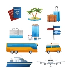 Realistic travel tourism icons set vector image vector image