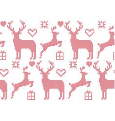 Seamless pattern cross stitch reindeer christmas vector