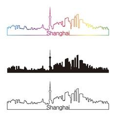 Shanghai skyline linear style with rainbow vector