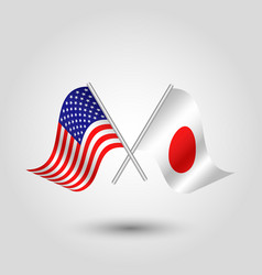Two crossed american and japanese flags vector