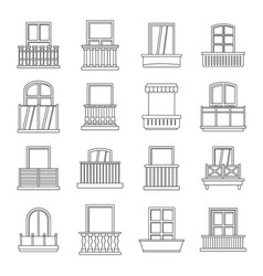 Window forms icons set balcony outline style vector