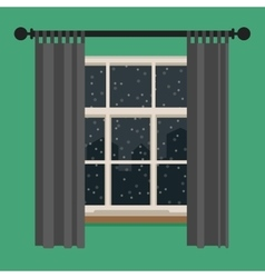 Window with view of the winter landscape vector