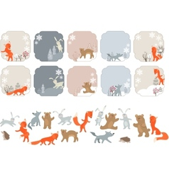 Winter labels with forest animals Animals isolated vector image