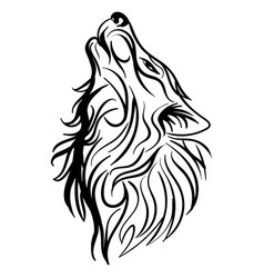Wolf head howl design tribal tattoo vector