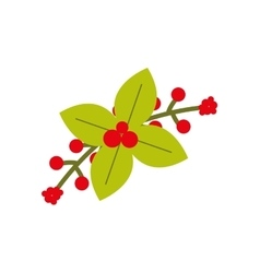 Plant leaf flower merry christmas icon vector