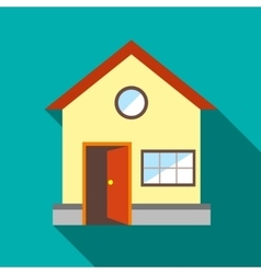 House with open door icon flat style vector image