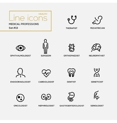 Medical professions - line design pictograms set vector