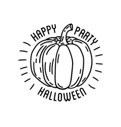 Happy halloween logo with curving pumpkins vector