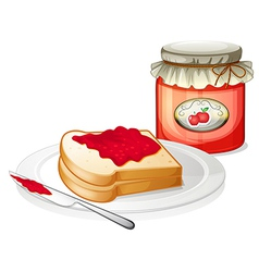 An apple jam with a sandwich in the plate vector image
