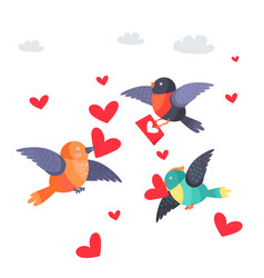 Birds with hearts in beak and envelope flying vector