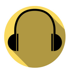 headphones sign flat black vector image