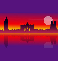 London city building silhouette style landscape vector