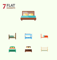 flat set of furniture bed cot and other vector image