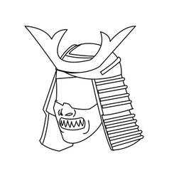Mask samurai helmet warrior image outline vector