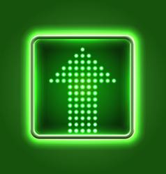 Green arrow neon icon vector image