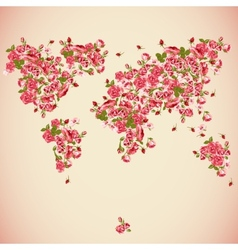 Flower world map eco abstract background vector