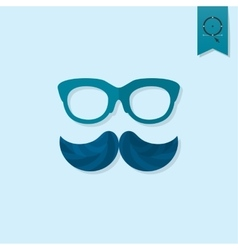 Hipster mustache leaves vector