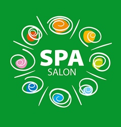 Plant logo for spa salon on a green background vector