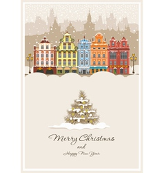 christmas vintage card vector image