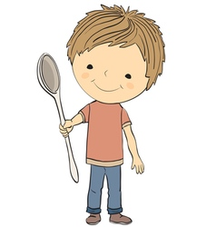 boy and spoon vector image