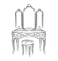 Sketched retro dressing table vector