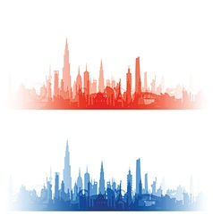 Cityscape with fade red and blue vector
