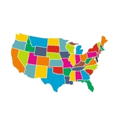 Colorful usa map with states icon vector