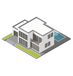Modern two-story house with flat roof sometric vector