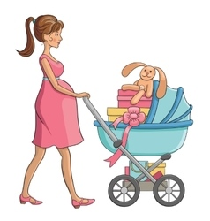 Pregnant woman walks with baby carriage vector