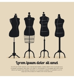 Female body vintage mannequin set vector