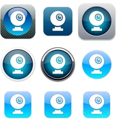 Webcam blue app icons vector