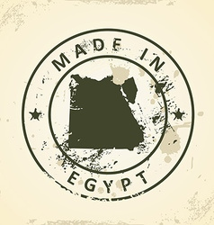Stamp with map of egypt vector