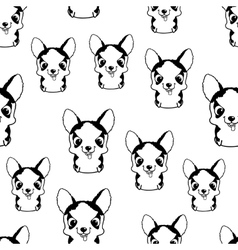 Seamless pattern with siberian husky puppies vector