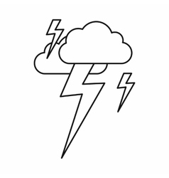 Cloud and lightning icon outline style vector