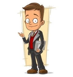 Cartoon business man with document case vector