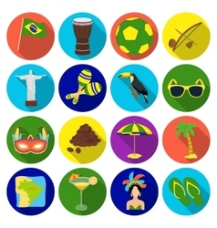Brazil country set icons in flat style big vector
