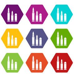 bullets icon set color hexahedron vector image vector image