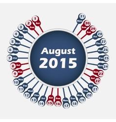 Calendar 2015 august template vector