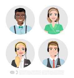 call center operator icons cartoon vector image vector image