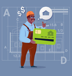 Cartoon african american builder hold credit card vector
