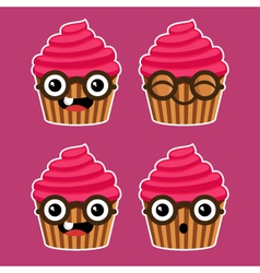 Cartoon cupcakes with eyeglasses vector
