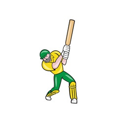 Cricket player batsman batting front cartoon vector