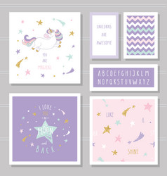 Cute cards with unicorn and gold glitter stars vector