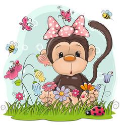 Cute cartoon monkey on a meadow vector