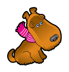 Cute cartoon terrier wearing a scarf vector