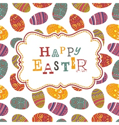 easter greeting on seamless eggs pattern vector image vector image