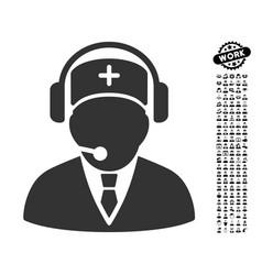 Emergency operator icon with men bonus vector