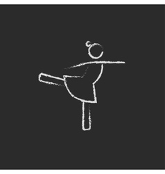 Female dancer icon drawn in chalk vector