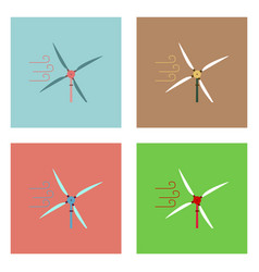 Flat icon design collection three wind turbines vector