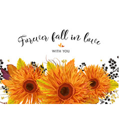 floral card design autumn bright orange gerbera vector image